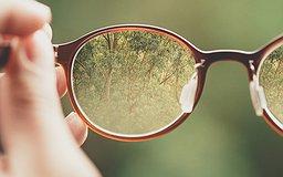 Une main tient des lunettes qui laissent transparaitre une foret