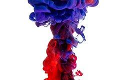 représentation abstraite avec rouge et bleu