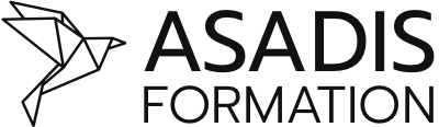 Le logo d'Asadis : un oiseau en origami